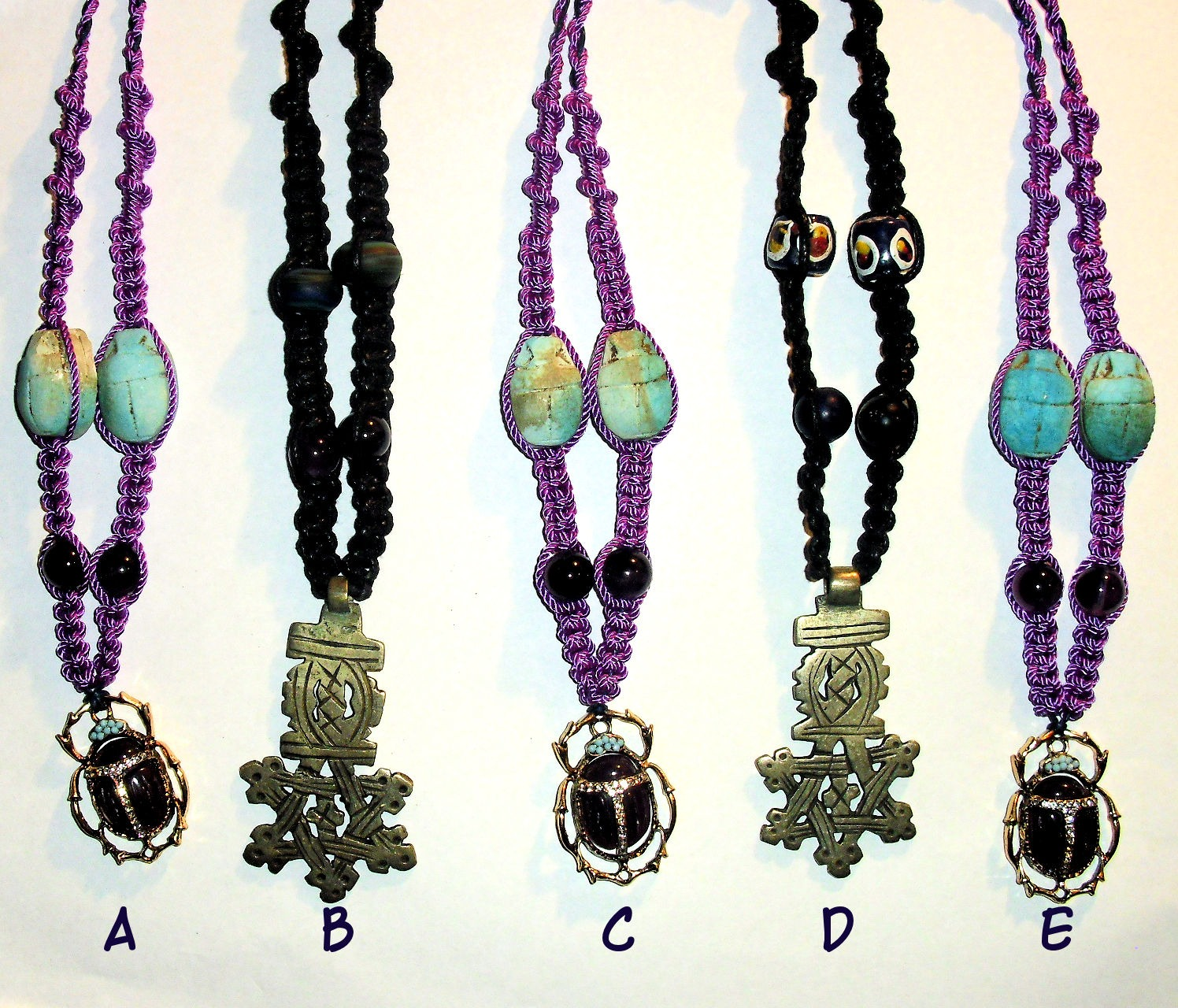 Scarab and Coptic Cross Neck Pieces