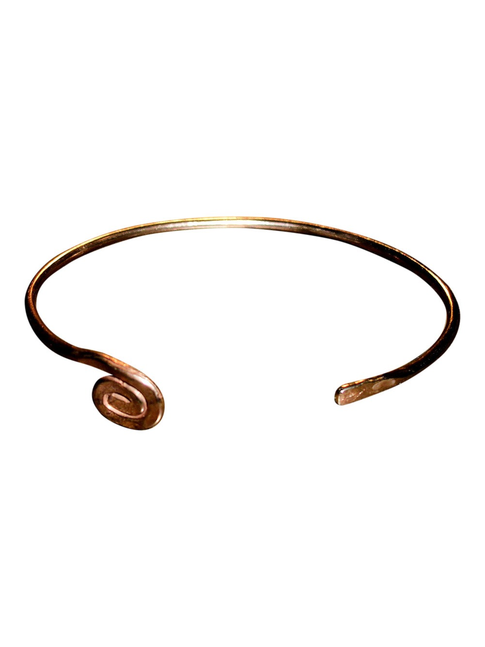 Copper Bracelet - swirl end, flat end